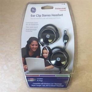 NEW GE 26693 VOIP STEREO EARCLIPS WITH IN-LINE MICROPHONE