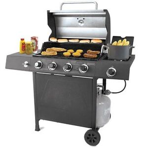 Backyard Grill Stainless Steel Lid 4 Burner Gas Grill BBQ