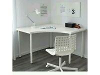 Ikea corner desk with white adjustable legs