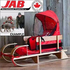 NEW JAB WOODEN DELUXE BABY SLED WITH CUSHION WINDSHIELD - TOBOGGAN - WINTER SPORTS - INFANT - SLEDS  84006410
