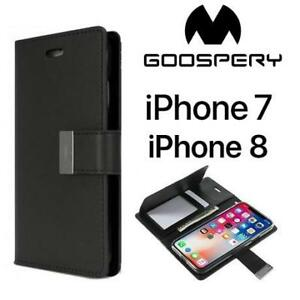 NEW GOOSPERY IPHONE WALLET POUCH 188025276 PHONE CASE BLACK RICH DIARY IPHONE 7 IPHONE 8