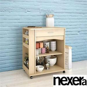 NEW NEXERA MICROWAVE CART NATURAL MAPLE - HOME - KITCHEN - DINING ROOM - FURNITURE TABLE PREP STORAGE  90461375