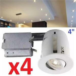 NEW 4PC LL RECESS. LED LIGHTING KIT LuxLite 4-in. Recessed LED Lighting Kit GU10 - 4 Pack   81056396