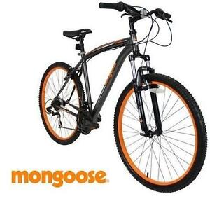 "USED* MONGOOSE IMPASSE MEN'S BIKE BICYCLE - MOUNTAIN BIKE - GREY - GRAY - ORANGE - 21 SPEED - 27.5"" 114386722"