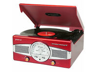 Groov-e Retro Series Classic Turntable in Red! All boxed and brand new!