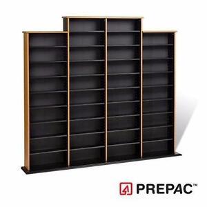 NEW PREPAC QUAD WALL STORAGE RACK MEDIA ORGANIZATION OAK & BLACK FURNITURE DECOR RACKS CDS DVDS ENTERTAINMENT 93356313