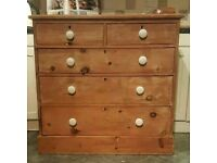 Stunning stripped pine chest of drawers ( free local delivery)
