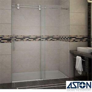 "NEW ASTON LANGHAM SHOWER DOORS 60""x75"" FRAMELESS CHROME FINISH CLEAR GLASS- BATHROOM SHOWERS DOOR BATH ALCOVE 98761678"
