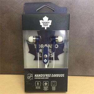 NEW, NHL Toronto Maple Leafs Stereo Hands-Free Earbuds