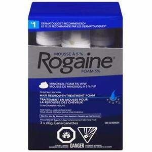 ROGAINE HAIR REGROWTH TREATMENT FOAM FOR MEN 3 x 60g CANS