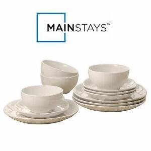 NEW MAINSTAYS 12 PC DINNER SET IVORY - SQUARE DINNER SET - DINNERWARE KITCHEN TABLEWARE HOME  78997765