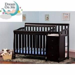 NEW DREAM ON 4 IN 1 PORTABLE CRIB  WITH CHANGER - JAYDEN - BLACK FURNITURE BABY NURSERY BED 91732662
