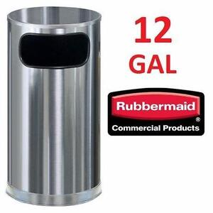 USED RUBBERMAID SS WASTE RECEPTACLE 12 GALLON - Round Satin Stainless Steel COMMERCIAL GARBAGE BIN TRASH CAN  81461679