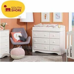 NEW SOUTH SHORE CHANGING TABLE   PURE WHITE - ANGEL COLLECTION - 6-DRAWERS BABY FURNITURE NURSERY  98179381