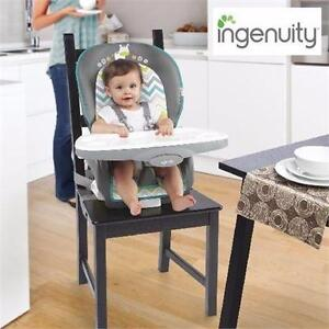 NEW INGENUITY TRIO HIGH CHAIR 3-IN-1 HIGH CHAIR-RIDGEDALE, GREY/TEAL INFANT CHILD TODDLER BABY 90651608