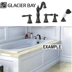 NEW GB DM 3 HANDLE ROMAN TUB FAUCET Glacier Bay Lyndhurst Deck-Mount w/ Handheld Shower in Oil Rubbed Bronze Home Bath