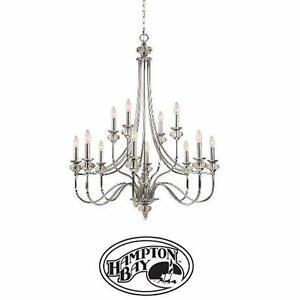 NEW* HB 12-LIGHT CHROME CHANDELIER HAMPTON BAY NOTTINGHILL COLLECTION 12-LIGHT COLLECTION CHANDELIER  81056591