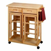 Kitchen Island (solid wood  with a drop leaf table & 2 chairs )