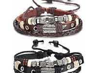 Braided Leather Bracelet for Men Cuff Bracelet 7.6-11 Inches **Brand New**
