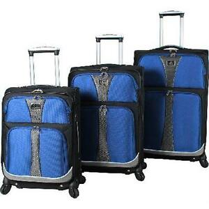 NEW 3PC VERDI BAILO SPINNER LUGGAGE 3 PC LUGGAGE TRAVEL SUITCASE BAG SET - BLUE GEAR BAG CARRY ON 78465442
