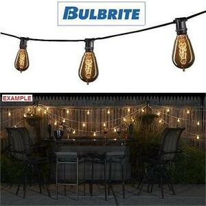 NEW BULBRITE VINTAGE STRING LIGHTS 25' LONG 15 BULBS BLACK CORD OUTDOOR LIGHTING PATIO GARDEN GAZEBO