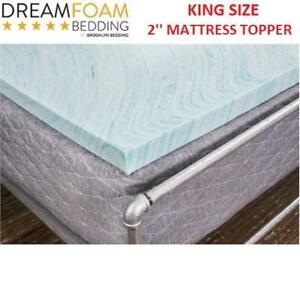 NEW DREAMFOAM KING MATTRESS TOPPER DF20GT2066 222165839 2'' GEL SWIRL AQUA BLUE