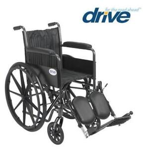 """NEW DRIVE MEDICAL WHEELCHAIR ssp218fa-elr 221918893 SILVER SPORT II FIXED ARMS 18"""" SEAT HEALTH TRANSPORTATION"""