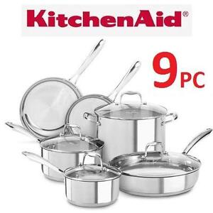 NEW* 9PC KITCHENAID COOKWARE SET POLISHED 18/10 STAINLESS STEEL - HOME  KITCHEN 103419978
