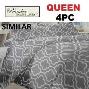 NEW BAMBOO 4PC BED SHEET SET QUEEN 1122K 238748009 HOME LUXURY 9500 QUEEN DEEP POCKET WRINKLE FREE BEDDING BEDROOM 10...