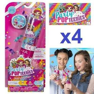 NEW 4PK PARTY POPTEENIES 250281732 Double Surprise Popper with Confetti Collectible Mini Doll and Accessories