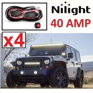 4 NEW LIGHT BAR WIRING HARNESS KIT NI-WA 02A 254558257 NILIGHT FOR OFF ROAD ATV/JEEP LED 40 AMP RELA ON/OFF SWITCH