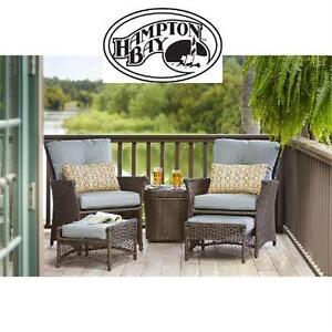 NEW* HAMPTON BAY 5-PIECE PATIO SET BLUE-HILL 5-PIECE PATIO CONVERSATION SET WITH BLUE CUSHIONS  OUTDOOR LIVING   8020061