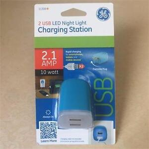 NEW,GE 11308 USB LED Night Light Charging Station with 2 USB Outlets 2.1 AMP