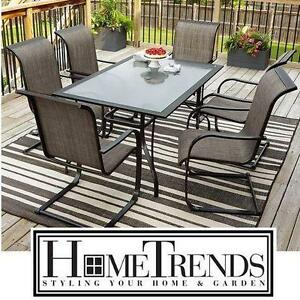 NEW* HOMETRENDS 7 PC PATIO SET CHARLESTON PATIO FURNITURE - SET INCLUDES 6 CHAIRS AND TABLE - 2 BOXES