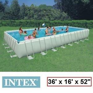 "NEW INTEX RECTANGULAR ULTRA FRAME POOL 28371CA 130057604 36'x16'x52"" - LADDER, SAND FILTER PUMP, GROUND COVER, POOL C..."