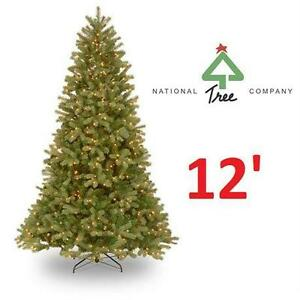 NEW NATIONAL TREE CHRISTMAS TREE 12 ft. FEEL-REAL Downswept Douglas Fir Artificial Tree with 1200 Clear Lights  82924863