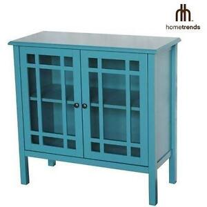 NEW* HOMETRENDS GLASS DOOR CABINET TEMPERED ACCENT CABINET - HOME - BATH - STORAGE 103160268