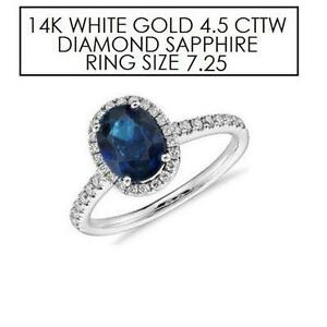 NEW* STAMPED 14K DIAMOND RING 7.25 JEWELLERY WHITE GOLD NATURAL BLUE SAPPHIRE 4.5 CTTW DIAMOND   66945402