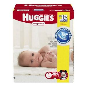 Huggies Snug and Dry Diapers, Step 1 Economy Plus, 264-Count