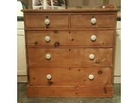 Stripped pine antique chest of drawers ( free local delivery)