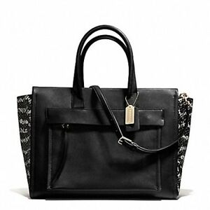 NWOT Black White Riley Leather Carryall Tote HandBag