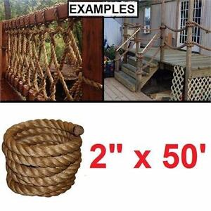"NEW TWEC 50' OF 2"" MANILA ROPE T.W.EVANS CORDAGE PURE #1 ROPES FITNESS WORKOUT PIER PORT BOAT PULLEY DECK FENCE 83527010"