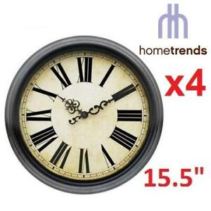 2 NEW 2PK HOMETRENDS WALL CLOCK 50811 256800185 ESPRESSO ROMAN NUMERAL 15.5 x 1.97 x 15.5 BATTERY NOT INCLUDED