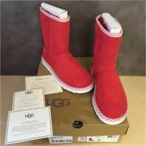 NEW, Genuine UGG Australia Women's Classic Short Hearts Boot- Red Hot