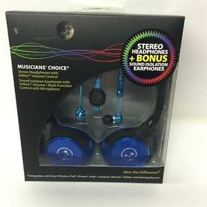 Able Planet SH180BLM-SI170BL Stereo Headphones + Bonus Sound Isolation Earphones