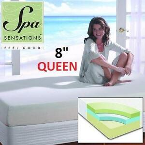 "NEW SPA SENSATIONS 8"" MEMORY MATTRESS QUEEN 8"" MEMORY FOAM MATTRESS QUEEN SIZE bedding bedroom furniture 79710321"