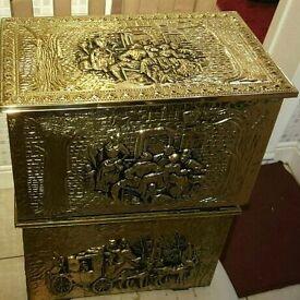 2X ANTIQUE COAL/STORAGE BOXES