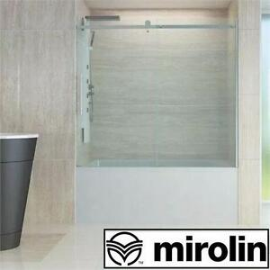 "NEW MIROLIN 60"" SLIDING DOOR KIT ROLL TOP CLEAR GLASS CHROME FINISH BATH BATHROOM BATHTUB BATHTUBS TUBS DOORS 99538690"