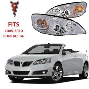 NEW PONTIAC G6 CHROME HEADLIGHTS GM501-BOWCA 192221910 Halo Projector with Clear Lens  Amber Reflector Left  Right