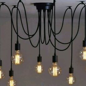 Vintage retro spider chandelier with 3 E27bulbs